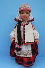 """Vintage Plastic Russian Doll Ethnic Costume Sleep Eyes 19"""""""