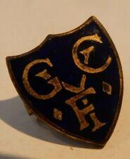 More details for vintage blue enamelled gilt metal f y golf club or y f badge art deco miniature