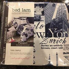 New Bed Lam Passport PARIS LONDON New York BLUE WHITE Twin Duvet & Sham Set NIP