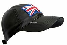 BASEBALL Black Union Jack England Ladies Mens Real Leather HipHop Cap Hat