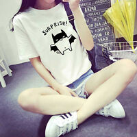 WOMEN'S BAT PRINTED LOOSE SUMMER T-SHIRT SHORT SLEEVE BLOUSE TOPS TEE KAWAII