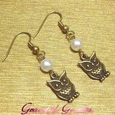 ER2412 Graceful Garden Bronze Tone Tiny Owl Charm Faux Pearl Dangle Earrings