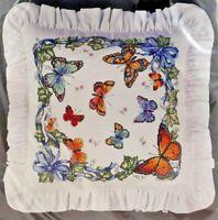1993 NIP Bucilla Counted Cross Stitch Pillow Kit Butterflies & Ivy 14x14  7775F