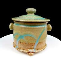 "STUDIO ART POTTERY ARTIST SIGNED TRI-FOOTED STONEWARE CRACKLE GLAZE 7"" CANISTER"