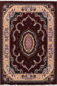 Burgundy Traditional Floral Oriental Area Rug Acrylic Living Room Carpet 8x12 ft