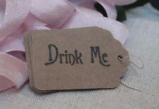 10 DRINK ME TAGS-Alice in Wonderland-Kraft-Wedding-Gift-Party-Rustic-Vintage