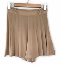 Lover the Label Silk Shorts Size 8 Nude Beige High Waisted Pleated Casual Womens