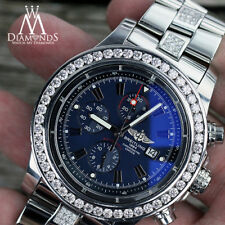 Breitling Super Avenger A13370 Middle Diamond Band Blue Stick Dial with Diamonds