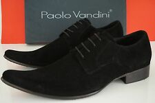 NEW PAOLO VANDINI London BLACK SUEDE LONG POINTY TOES Modish Shoes MENS 45