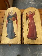 Wooden Painted Arched Religious Pictures x 2 Wall Hanging Art