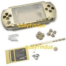 For PSP 1000 Full Housing Shell Case barcode LR door button repair parts gold