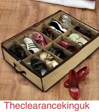 12 pares de zapatos marrones contenedor de almacenamiento Organizador Bajo Cama Armario Caja Bolsa!