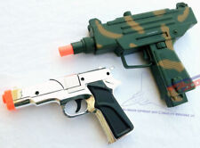 2X Toy Guns Military UZI Machine Gun Dart Pistol & Silver 9mm Cap Gun Set