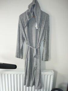 M&S Duvet days Loungewear M Grey Ladies Hooded Soft Dressing Gown Robe 12 14 16