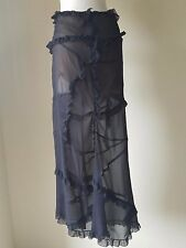 FERRE~Italian Designer Black Ruffled Tiered Silk Skirt With Front Slit~Size - 8