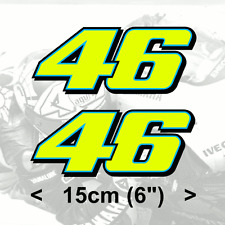 "2 x Valentino Rossi Sticker FLUORESCENT YELLOW 46 (2013) vinyl 6"" 15cm 150mm"