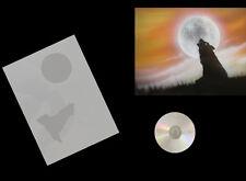 Step by Step Airbrush Schablone / Stencil 0592 heulender Wolf  mit Anleitungs CD