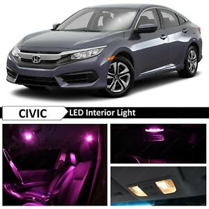 10x Pink Interior LED Lights Replacement Package Kit Fit 2016-2019 Honda Civic
