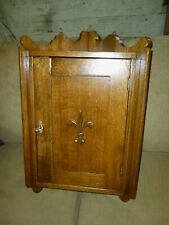 Antique Oak Cabinet Medicine Bathroom corner Larkin fluer de lis 1900's