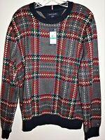 Tommy Hilfiger Men Knit Ski Plaid Sweater Jumper Wool Blend Nordic Sz S NEW $129