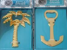 Anchor & Palm Tree Bottle Openers TWO Elegant Shiny Gold Openers