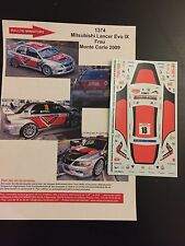 DECALS 1/43 MITSUBISHI LANCER EVO IX 9 FRAU RALLYE MONTE CARLO 2009 RALLY WRC