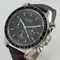 BLIGER 40mm Automatic Men's Watch With Date Dial Polished Case Leather Strap