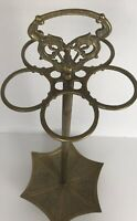 Vtg Cast Brass Umbrella Cane Stand 5 Ring Handle Duck Floral Parasol Base Patina