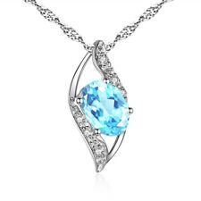 "0.78 CT Oval Cut Aquamarine Necklace Pandant 925 Sterling Silver 18"" Chain"
