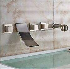 Brushed Nickel Widespread Waterfall Bathtub Mixer Faucet Set Wall Mount Tub Tap