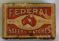 Early vintage federal safety matches plywood matchbox made in Australia