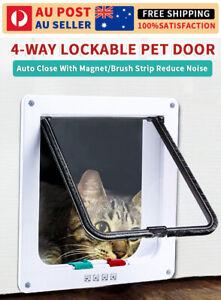 New 4-Way Safe Lockable Pet Cat Dog Door Brushy Flap Screen Locking Quiet