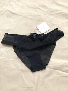 La Perla underwear panty Fine Mesh, Embroidery and Silk UK 16 Black