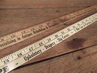 Vintage LOT Wood Yard Sticks w/ Advertising - UPHOLSTERY & FRABIC