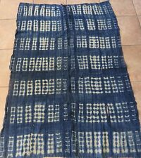 """Vintage African,Dogon Indigo Resist Dyed Fabric/Hand Woven Cotton Strips/38""""x56"""""""