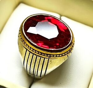 Oval Cut Ruby Silver Plated Solid Stunning dazzling Men's Ring UK Size V