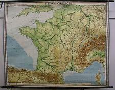 Schulwandkarte map Frankreich La France Alpen Paris 1949 164x133 alte Schulkarte