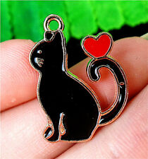 Enamel Cat Pendant Bead Bv49825 25x18x2mm Alloy Carved Dripping Oil
