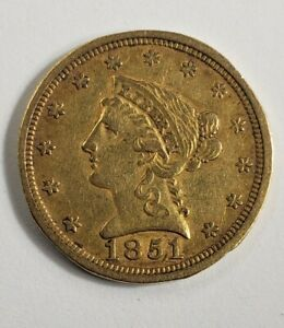 1851 /1851 O DOUBLE DATE GOLD NEW ORLEANS $2 1/2 DOLLAR LIBERTY QUARTER EAGLE