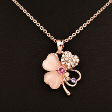 18K Rose Gold Plated Women Charm Four Leaf Opal Flower Necklace Chain
