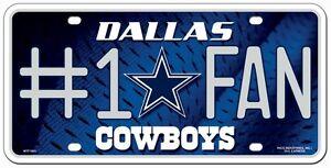 Dallas Cowboys #1 Fan Metal Sign License Plate Tag Man Cave NFL