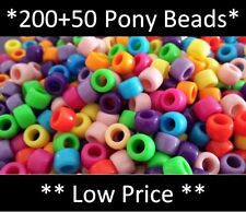 *Buy 200, Get 50 Free* Pony Beads, 9x6mm 250pcs Hair Braid, Mixed Colours Spacer