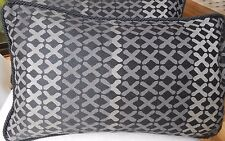 PAIR New MODERN GEOMETRIC Black Grey Oblong Cushion covers SILK BACKS Rope trim