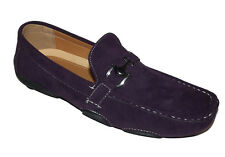YH42 New Purple LOAFER SLIP ON MOCCASIN faux Leather Suede Mens Shoes Size 7