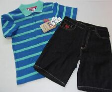 NWT Boys $44 Phat Farm Adorable 2 Piece Polo Shirt and Denim Short Outfit Size 4