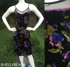 BETSEY JOHNSON 90s 00s RETRO Vtg STRETCH Velvet Wiggle Slip Dress P XS 0 2 4 HOT