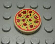 Lego Fliese - Kachel 2x2 Rund Beige bedruckt mit Pizza                  (5251 A)