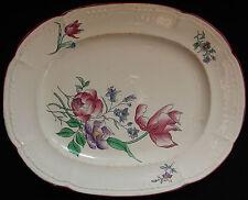 BORDEAUX J. VIEILLARD Plat ovale décor floral polychrome 19è STRASBOURG