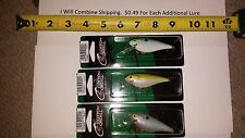 """Lot of 3 COTTON CORDELL DEEP C.C. SHADS PEARL SHAD 3-1/4"""" fishing lures"""