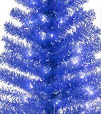 4' ft. Pre-lit BLUE TINSEL Christmas/Hanukkah/Holiday/Xmas Tree. Clear lights
